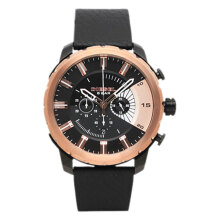 Diesel Stronghold Chronograph Leather Strap Watch [DZ4390] Black