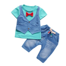 BESSKY Toddler Kids Baby Boys Outfits Short Sleeve T-shirt+Pants Gentleman Clothes Set_