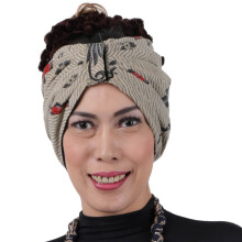 SHE BATIK Turban Batik Motif Burung Light Grey