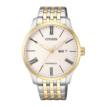 CITIZEN Automatic Watch - Silver Gold Strap/White Dial 40mm Gents [NH8354-58AB]