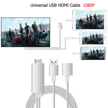 JOYSEUS USB HDMI Cable 8 Pin Iphone Charger Micro USB Type-C  to HDMI 1080P HDTV Adapter AV Cable All Phone Silver