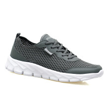 Men'S Shoes Hollow Breathable Large Size Couple Models Travel Sports Network 43 Gray