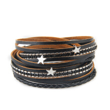 Fashionable and Hot Selling Personality Pentagram Multi-Layer Leather Bracelet