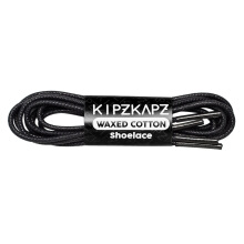 KIPZKAPZ W1 Waxed Cotton Round Shoelace - Black [3mm]