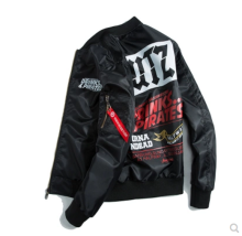 Ins V-356 Trendy brand new Printed Pilot baseball jacket-Black