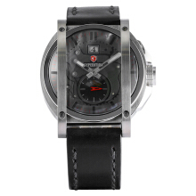 Expedition Man Gray Dial Stainless Steel Case Leather Strap [EXF-6725-MSLSSBA] Black