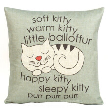 BESSKY Happy Sleepy Kitty Print Cat Pillowcase Cushions Sofa Decorative Gift 18x18inch_ Grey