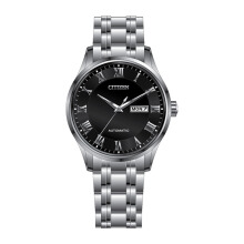 CITIZEN Automatic Watch - Silver Strap/Black Dial 41mm Gents [NH8360-80E]