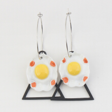 Poached Egg with Black Triangel Dangle Earring