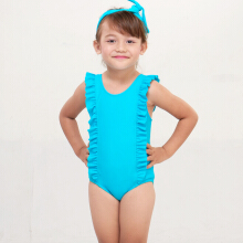 LEE VIERRA - Kids Blue Ruffle Border Leotard