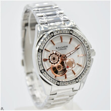 Balmer B.7981LRB-D37H1308SLHT Small Second Shappire Crystal Stainless Steel Jam Tangan Wanita Silver Hitam Silver