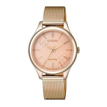 CITIZEN Eco Drive Watch - Rose Gold Strap/Rose Gold Dial 32mm Ladies [EM0503-83X]
