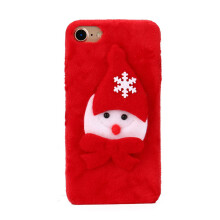BESSKY ChristmasLuxury Winter Soft Plush Warm Cute Case Cover For iPhone 7 4.7inch_ Red