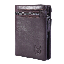 Bullcaptain® Bifold Men's Leather Wallet Coin Holder Wallet Credit Card Holder -Coffee