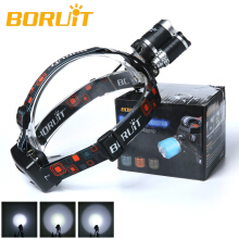 Boruit 30W 8000LM 3x XM-L2 LED 18650 Headlight Headlamp Torch USB Lamp+Charger Camping Fishing Cycling