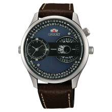 Orient Automatic Men Blue Dial Brown Leather Strap [FXC00003B] Coklat