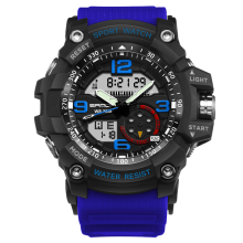 SANDA 759 Fashion Men Dual Display Watch Multifunction Swimming Diving Sport Watch