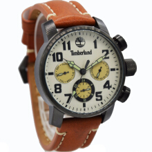 Timberland Leather Strap Mens 14783JSU-14-2308D45CKTHTM Analog Chronograph Coklat Hitam Brown