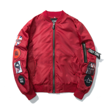 Ins V-403 Trendy brand new Simple Design Pilot baseball jacket-Red