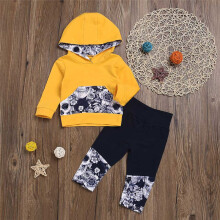 BESSKY 2Pcs Toddler Baby Girls Boys Flower Skull Bone Hooded Tops+Pants Outfits Set_