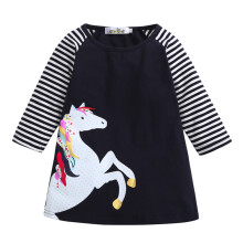 BESSKY Toddler Baby Girl Kid Spring Clothes Horse Stripe Print Princess Party Dress_