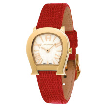 Aigner Varese Ladies White Pattern Dial Gold Case Red Leather Strap [A45209] Red