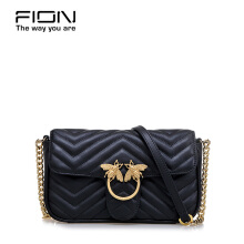 FION Cow Leather Sling Bag - Black