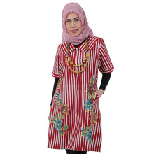 SHE BATIK Dress Floral Lurik - Red White