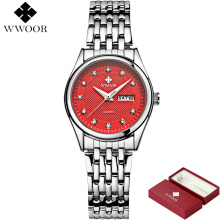 WWOOR Women Watches Ladies Brand Luxury Waterproof Watch Women Bracelet Dress Fashion Casual Quartz Watch