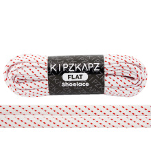 KIPZKAPZ FS58 Flat Shoelace - White Red Stripes [8mm]