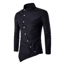 BESSKY Mens Casual Irregular Silm Fit Long Sleeve Shirt Blouse Tops T-shirt_