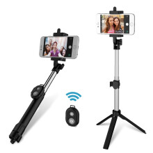 FLOVEME 3 in 1 Bluetooth Remote Controller+Handheld Selfie Stick+Tripod Monopod for iPhone 8 S8 Samsung Xiaomi mi6 Android Black