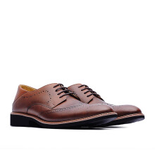 LIFE 8 Embossed Derby Shoes in Coated Leather - Brown