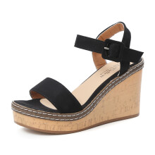 BESSKY Women Fish Mouth Platform High Heels Wedge Sandals Buckle Slope Sandals_