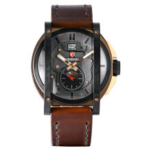 Expedition Man Gray Dial Stainless Steel Case Leather Strap [EXF-6725-MSLBRBA]