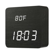 JDWonderfulHouse Digoo DG-AC1 Wooden LED Digital Alarm Clock with Time Temperature and Voice Control