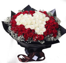 Hand Bouquet rose Red - White L