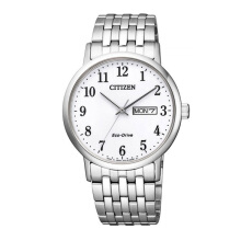 CITIZEN Eco Drive Watch - Silver Strap/White Dial 37mm Gents [BM9010-59AB]