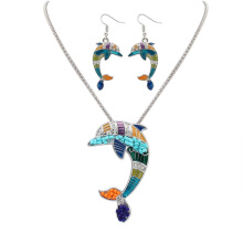 Smart Colorful Dolphin Holiday Set Necklace Stud Earring Set