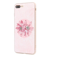 BESSKY Soft Silicone Flowers Gedessineerde Case Cover For iPhone 7/8 Plus 5.5 Inch_