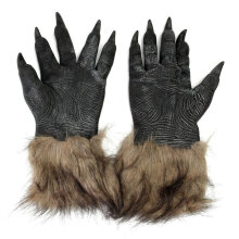 [kingstore]Halloween Werewolf Gloves Latex Furry Animal Hand Gloves Halloween Prop Black Black