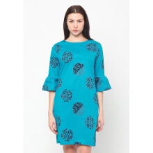 FBW Sonia Flutted Sleeves Batik Piring Dress - Biru