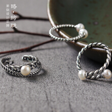Luo Ling Long Silver retro Thai Silver Twins Shen pearl ring