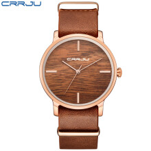 CRRJU Unique Lover Simulation Wooden Women Casual Quartz Watches Classic Style With Real Leather Strap Men Women Lovers Watches