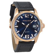 Police Lancer Blue Dial Ion Plating Case Black Leather Strap [PL.12591JSR/03] Black