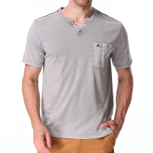 Summer Casual V Neck Comfort Cotton T-shirt Men's Fashion Chest Pocket Tops Tees-XL