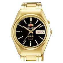 Orient Classic 3 Stars Crystal Automatic Men Black Dial Gold Stainless Steel Strap [SEM0B01BB]