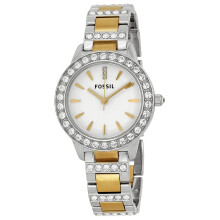 FOSSIL ES2409 CRYSTAL D36H1200SLVGL ANALOG STAINLESS STEEL CHAIN LADIES SILVER GOLD Gold