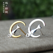 Luo Ling LongSilver Sterling Silver Stud Earrings Moon Moon Cat Jewelry Earrings Earrings
