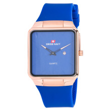 SWISS NAVY Man Blue Dial Rose-gold Case Blue Leather Strap [8312MRGBLBL]